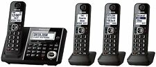 Panasonic Dect-6.0 Phone System w/ 4 Phones, Answering Machine- Black KX-TG