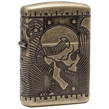 "Zippo ""Steampunk-Shull"" Multi-Cut Armor Lighter, Antique Brass Finish,  29268"
