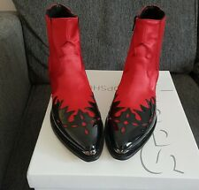 BNIB - Topshop Arson Red and Black Western Cowboy Biker Boots - UK 5 EU 38!