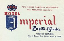 Colombia Bogota Hotel Imperial Vintage Luggage Label sk1842