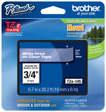 "Brother 3/4"" (18mm) White on Clear P-touch Tape for PT2100, PT-2100 Label Maker"
