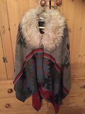 Ralph Lauren Net A Porter Aztec Cape Coat Shawl Faux Fur Detachable Collar