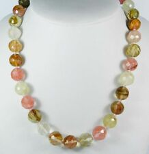 """AAA 10mm Faceted Watermelon Tourmaline Round Beads Gems Necklace 18"""" HRR"""