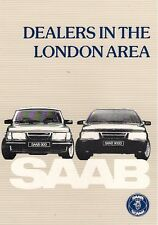 Saab London Area Dealer List 1985-86 UK Market Leaflet Brochure 900 9000