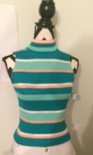 NEW RUE 21 Green Striped L sleeveless WOMENS BLOUSE Mock turtle neck TANK TOP