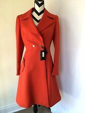 ✨ON FIRE ✨NEW ✨ROBERTO CAVALLI  RED DOUBLE BREASTS CLOSURE WOOL COAT SIZE 44 - 8