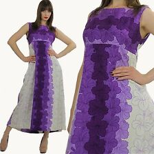 Vintage 70s Boho Hippie Hawaiian purple Floral sleeveless Maxi Dress caftan
