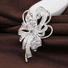 Cute Silver Plated Flower Wedding Brooch Pin for Scarf