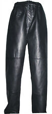 9001 Men Black Soft Sheepskin Leather Long Classic Dress Waisted Pants 35W30L