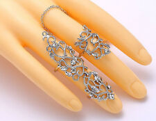Fashion Delicate Silver Hollow out Flower Rhinestone Link Two Finger Joint Ring