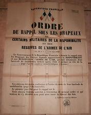 REPUBLIQUE FRANCAISE ORDRE de RAPPEL SOUS LES DRAPEAUX armée air mobilisation