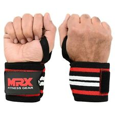 POWER WEIGHT LIFTING TRAINING WRIST SUPPORT WRAPS GYM BANDAGE STRAPS RED WHITE