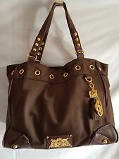 JUICY COUTURE Brown Nylon & Leather Trim Large Tote Shopper Shoulder Bag NICE!