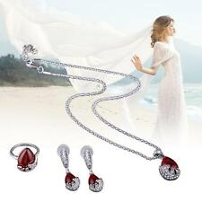 Silver Ruby Jewelry Sets Necklace Pendant Earrings Ring Set For Women Fashion TL