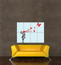 POSTER PRINT PAINTING GRAFFITI BANKSY BUTTERFLY BRAINS SUICIDE BULLET SEB151