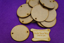 15 x Circle Round two holes 5cm/50mm Craft Embellishment MDF Laser cut wooden