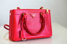 Prada Saffiano Double-Zip Mini Small Crossbody Handbag in Coral Red
