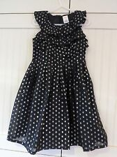 GYMBOREE Girls Size 5 Black Metallic Silver Holiday Polka Dot Ruffle Dress $60
