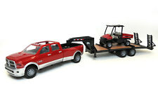 1/16TH ERTL RAM RED & SILVER 3500 DUALLY WITH TRAILER AND SCOUT 46456