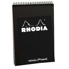 "Rhodia #16 Wirebound Notepad 5.8"" x 8.3"" Dot Pad, Black Cover"