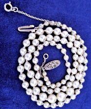 Antiguo C 1910 -20 Real Perlas Cultivadas 20 en collar de plata anudada graduado