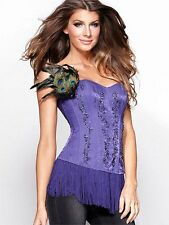 FREDERICKS OF HOLLYWOOD FOH LIMITED EDITION PURPLE BEADED FRINGE SATIN CORSET M