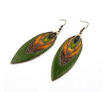 1pair Glazed Feather Dangle Vintage Style Earrings for Women Fashion Jewelry