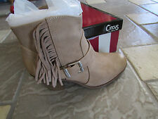 NEW SAM EDELMAN CIRCUS LEAH FRINGE BOOTIES BOOTS WOMENS 9.5 TAN OATMEAL