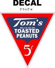 Tom's 5 Cents Roasted Peanuts Decal - Great for Dioramas, Gumball Machine & More