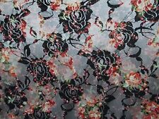 2 yards two way stretch lace fabric with floral print