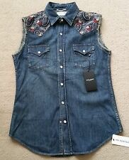 MENS SAINT LAURENT SLEEVELESS DENIM SHIRT