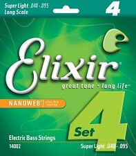 ELIXIR 14002 NANOWEB COATED BASS STRINGS , SUPER LIGHT GAUGE 4's - 40-95