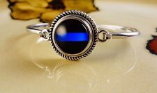 THIN BLUE LINE POLICE  SNAP BUTTON ON SILVER 20MM BANGLE BRACELET