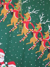 Vintage Christmas Home Decor fabric 70s Green large scale santa rudolph reindeer