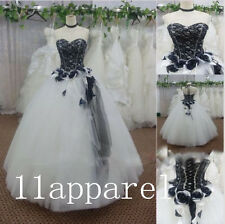 Black white/Ivory Vintage Wedding Dress Lace Ball Gown Bridal Gown Custom2-28