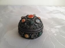 Vintage White Metal & Cabochon Set Trinket Box