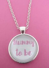 "Pink Mummy To be Silver Plated Glass 18"" Necklace New in Gift Bag Pregnancy Mum"