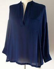 Vince Blue 100% Silk Navy Blue Chiffon Pocket Front Popover Top Blouse S Small