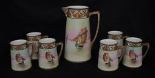 FABULOUS SAILING SHIPS BEADED JEWELED TANKARD SET NIPPON BISQUE FINISH
