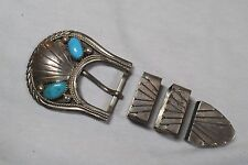 H. Spencer Navajo Turquoise Ranger Belt Buckle SET - Sterling Silver -.75""
