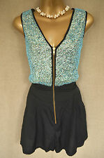 MISS SELFRIDGE Black playsuit with blue bead embellishment UK 8