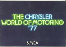 CHRYSLER SIMCA 1000 AND 1100 RANGES SALES BROCHURE AUGUST 1976 FOR 1977