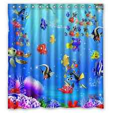 "Custom New Finding Nemo 12 holes to which rings attach Shower Curtain 66"" x 72"""