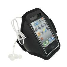 Black iPhone 4 4S Sports Strong ArmBand Padded Soft Cover With Earphone Pocket