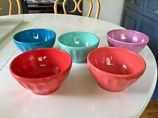 "Set of Five Colorful Biscuit ""Latte Bowls"" from Anthropologie"
