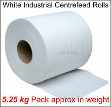 12 White Embossed 2 Ply Industrial Centrefeed Kitchen Roll Tissue Cleaning Paper