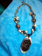 WOOD, GLASS & MOTHER OF PEARL TRIBAL NECKLACE BY EAST WITH PENDANT 76-10