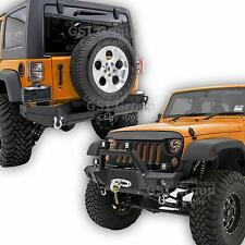 "Front Bumper+Rear Bumper+2""Hitch+Winch Plate+D-rings For 07-17 Jeep JK Wrangler"