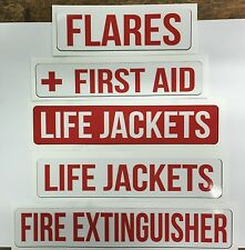 "Safety Decal Set Boat Marine ""Fire Extinguisher"" ""First Aid"" ""Life Jackets"""
