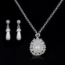 New Fashion White Pearl Crystal Dop Crystal Pendant Chain Necklace Earrings Set